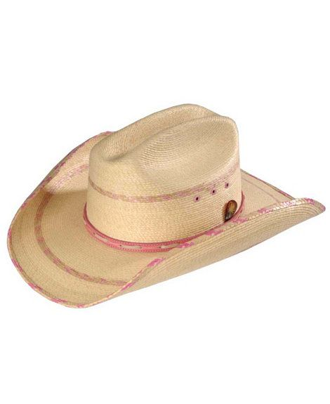 Kenny Chesney Pink Palm Leaf Straw Cowboy Hat  50cd76734bf