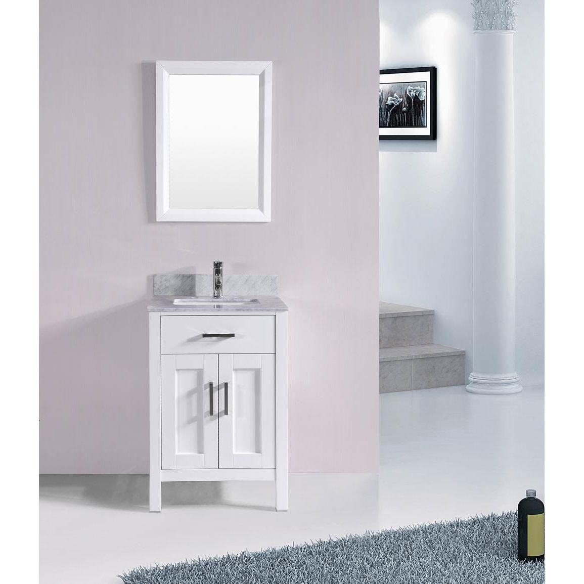 White Floor Bathroom Cabinet 24 Inch Belvedere Bathroom Vanity Set With Marble Top White