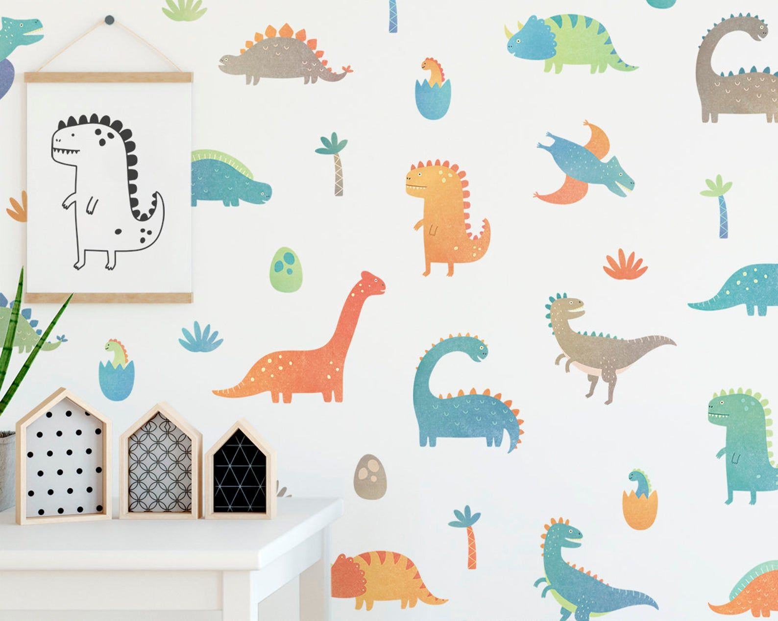 Dinosaur Wall Decals Wall Decor Decals Watercolor Dinosaur