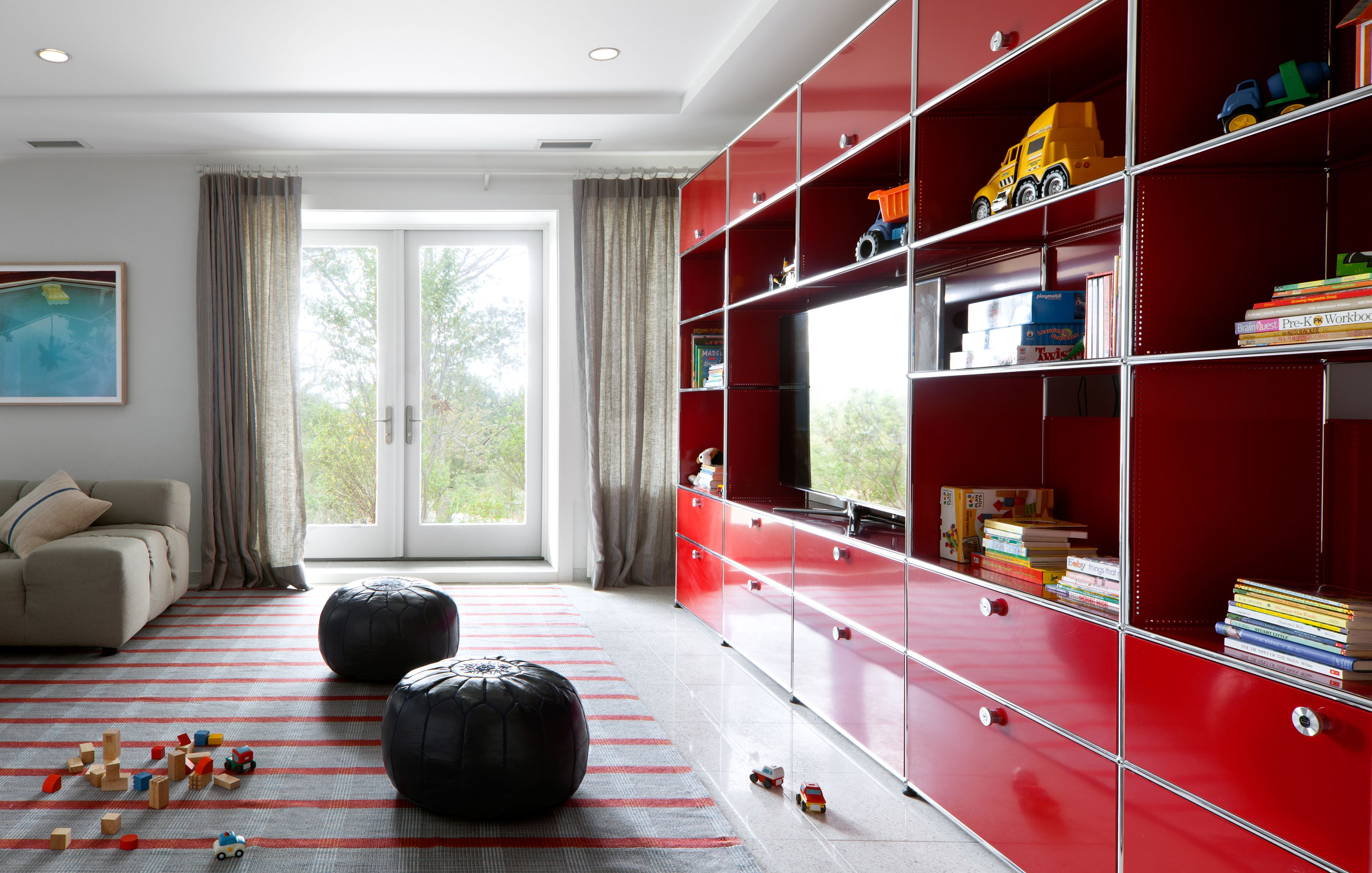 Usm Haller Shelving In Ruby Red Modern Modular Design For Home  # Meuble Tv Usm Haller
