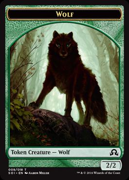 2//2 Miller Art Green MTG Magic NM Wolf Token 10x