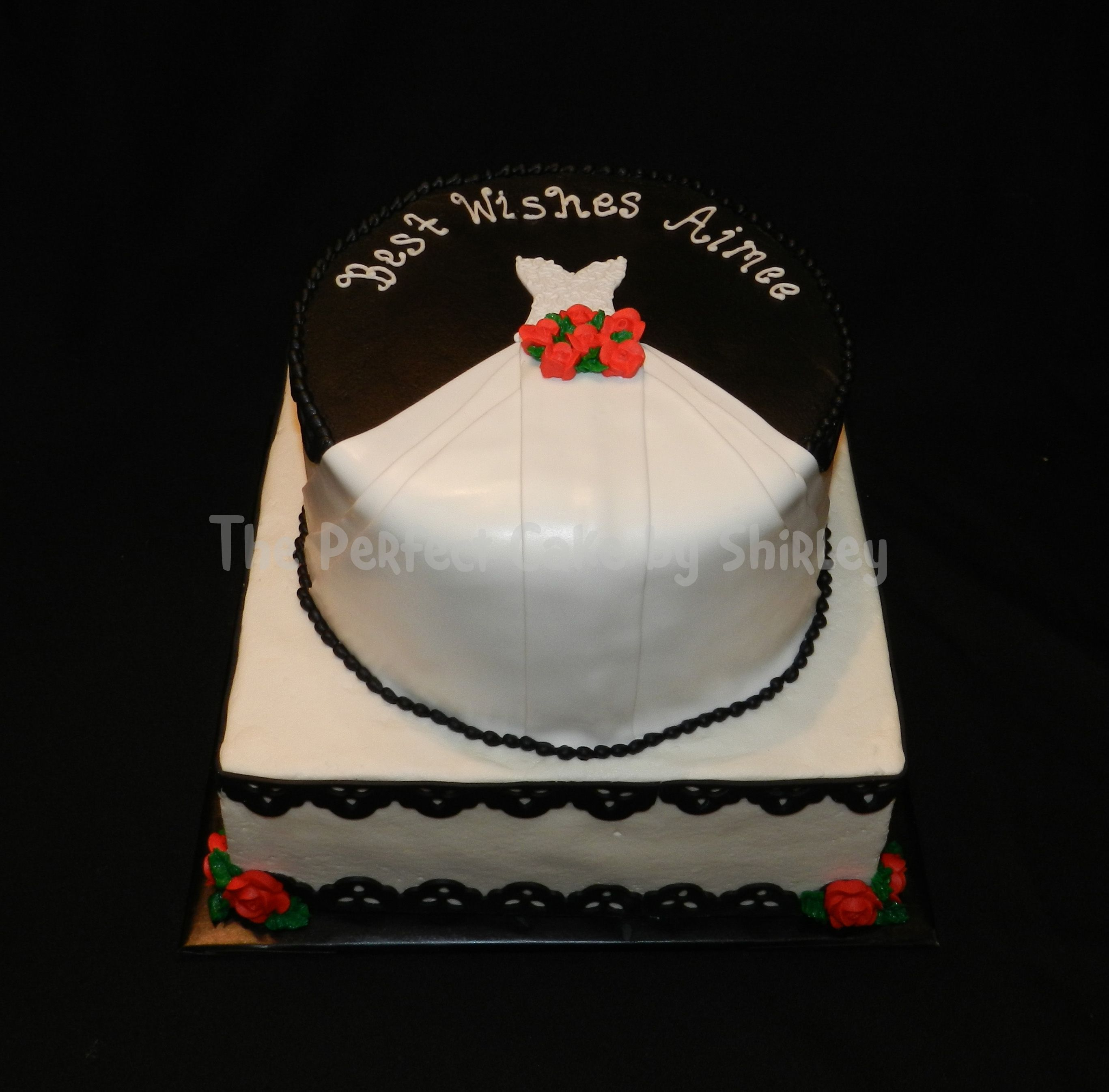 blackwhite wedding gown bridal shower cake bridal shower cake a version of cakes i have seen here iced in buttercream fondant gown and scalloped