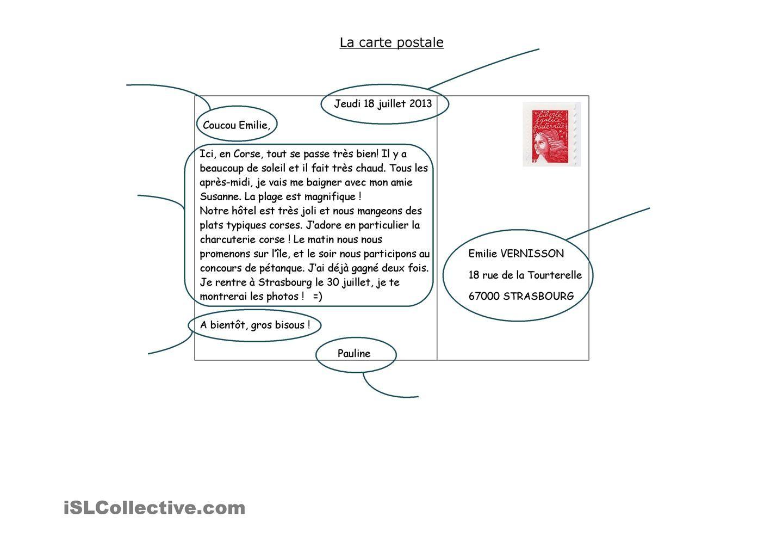 Les Elements De La Carte Postale Carte Postale Carte Cartes