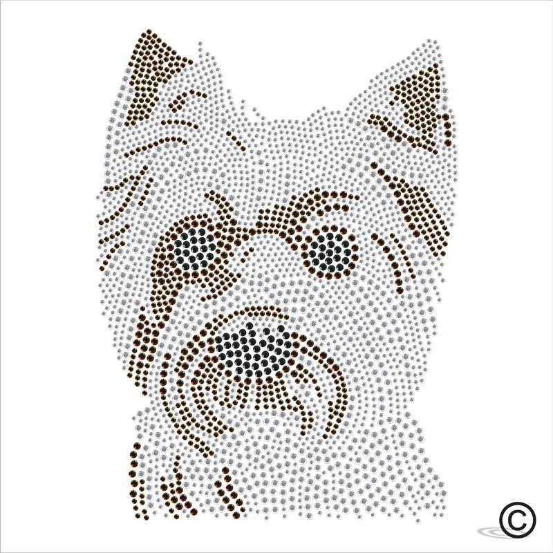 Yorkshire Terrier Dog Rhinestone Diamante Transfer Iron On Hotfix