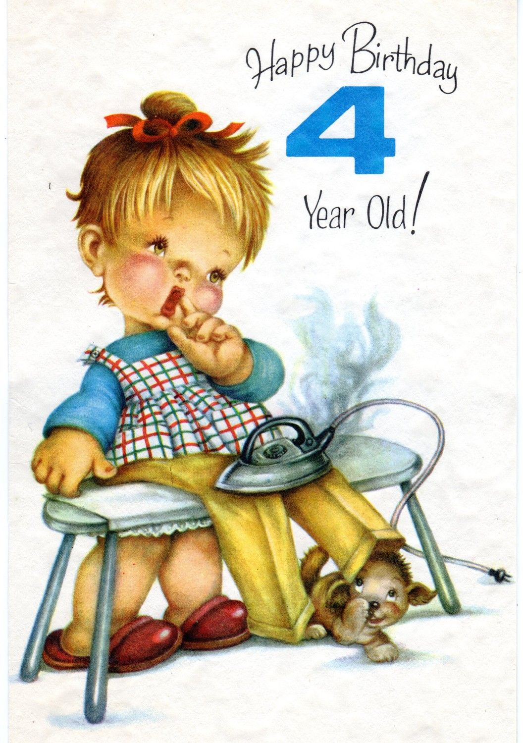 Vintage birthday greeting card for four 4 year old child 1960s vintage birthday greeting card for four 4 year old child chubby cheek baby girl bookmarktalkfo Image collections