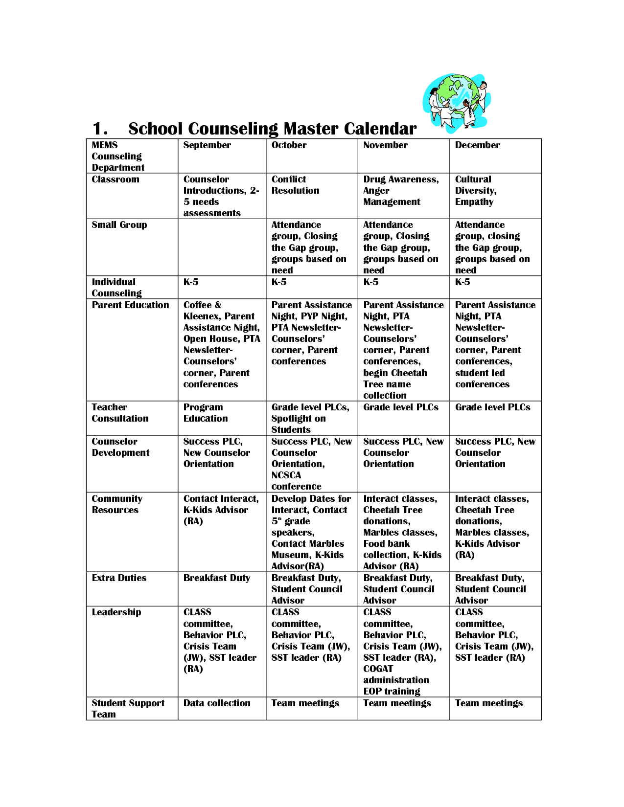 Coral Canyon Elementary School Counseling Guidance Calendar