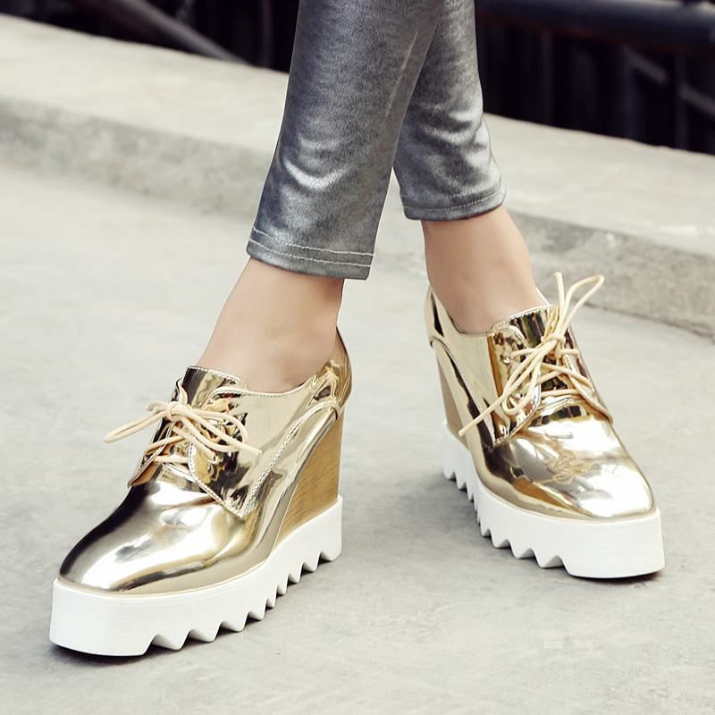 fcb3816ae35 Womens Lace Up Platform Wedge Heel Bling Flatform Shoes High Top Unique  Sneakers