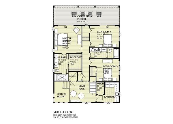 Beach Style House Plan - 5 Beds 4 Baths 3331 Sq/Ft Plan #901-125 Floor Plan - Upper Floor Plan - Houseplans.com