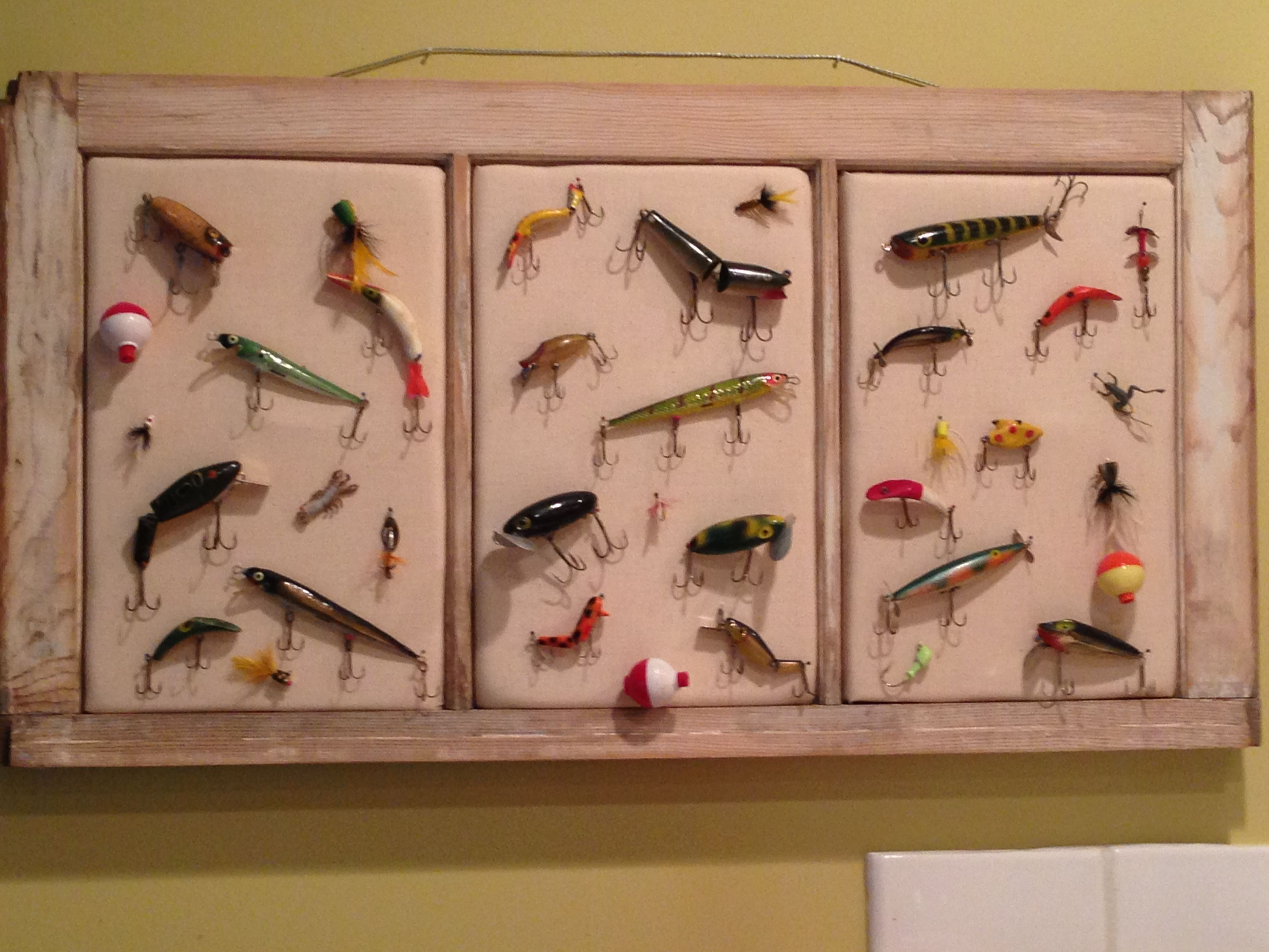 Old window fabric batting push pins and vintage for Fishing lure display