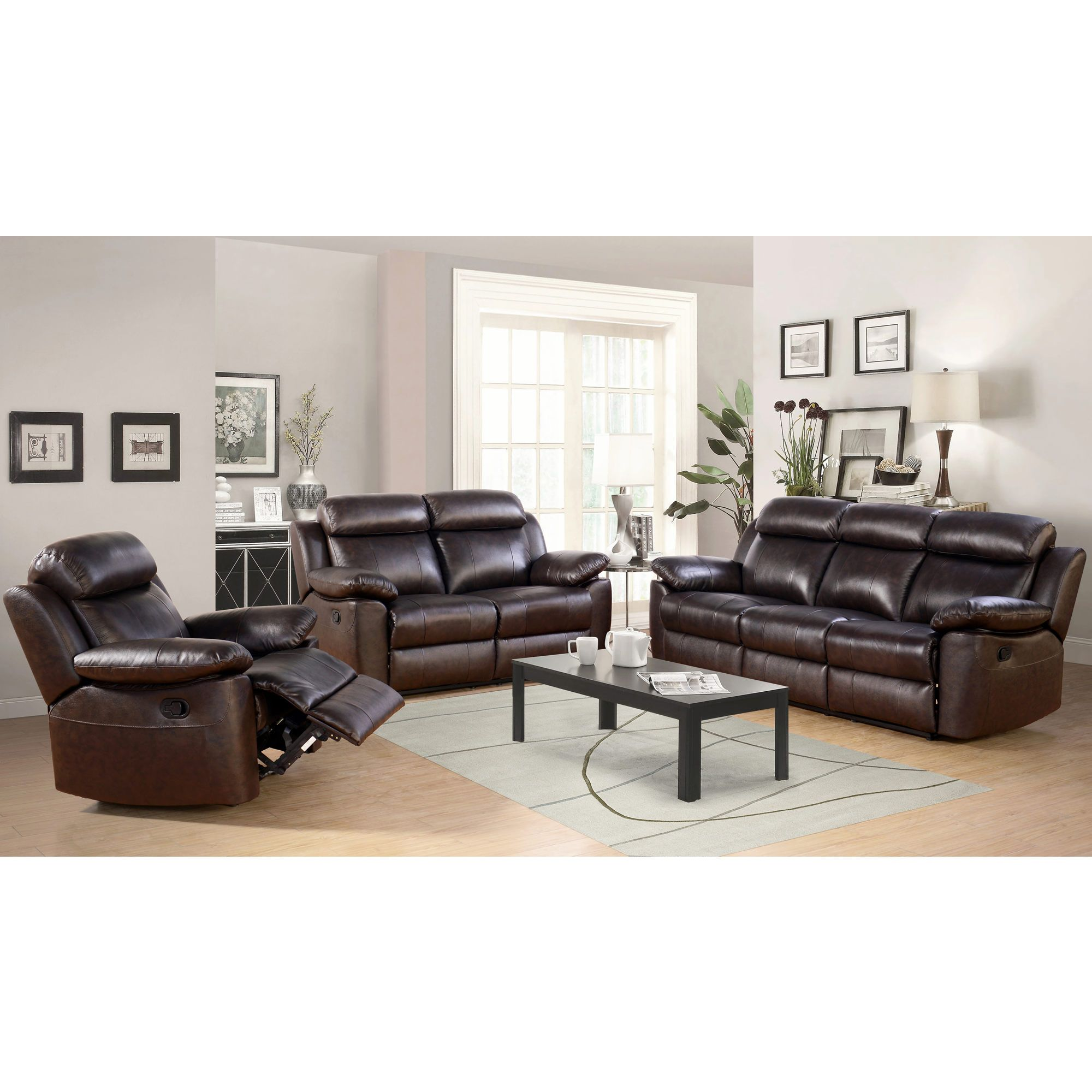 Abbyson Living Braylen 3 Piece Leather Reclining Set Living Room Leather 3 Piece Living Room Set Living Room Sets Furniture