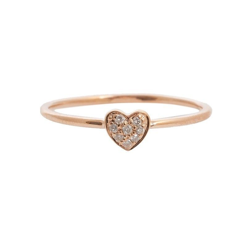 Sydney Evan Rose Gold Baby Diamond Heart Ring by Benna