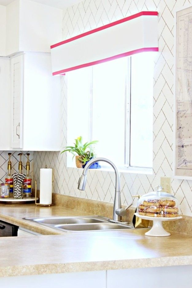 Fake A Herringbone Tile Backsplash On Your Painted Walls With A