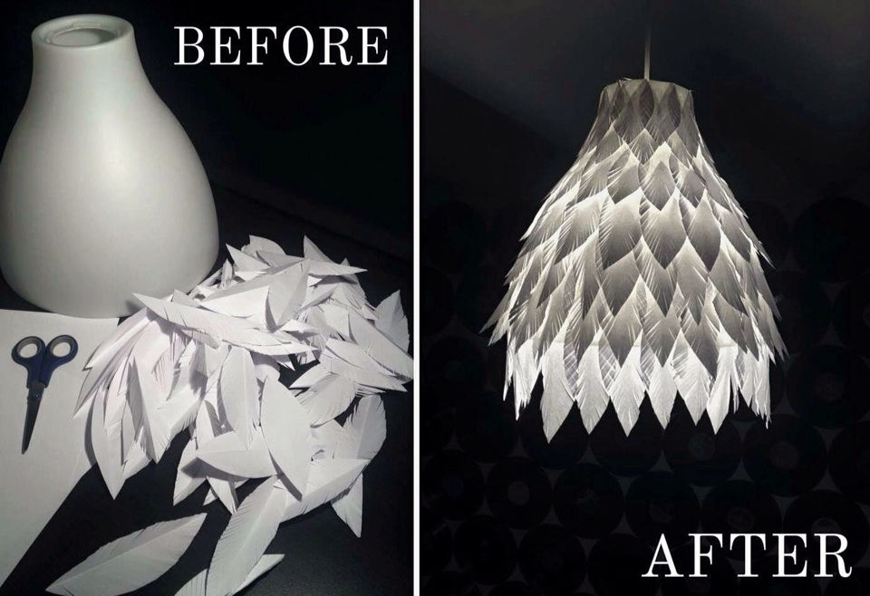 My new handmade DIY paper feather lamp