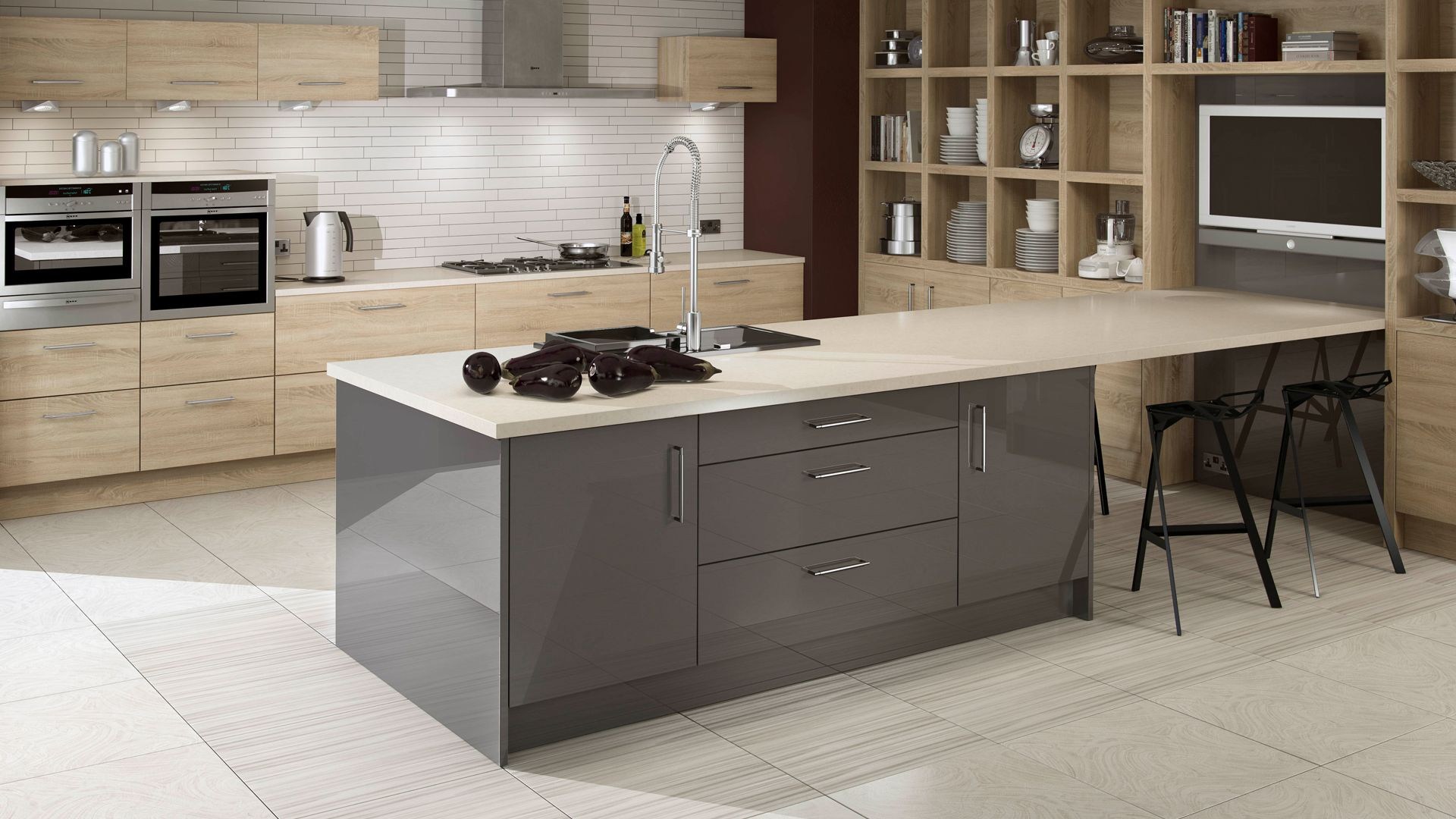Bardolino Oak and Storm Kitchens Bedrooms Bathrooms by Ashley