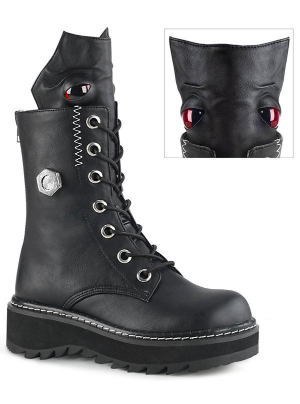 DEMONIA SWING-12 Women/'s Black Gothic Wedge Platform Pentagram Heel Calf Boots