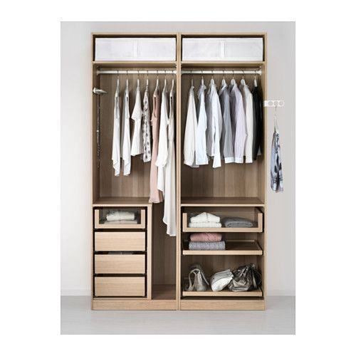 Pax kledingkast wit gelazuurd eikeneffect mehamn wit in for Ikea cabina armadio pax