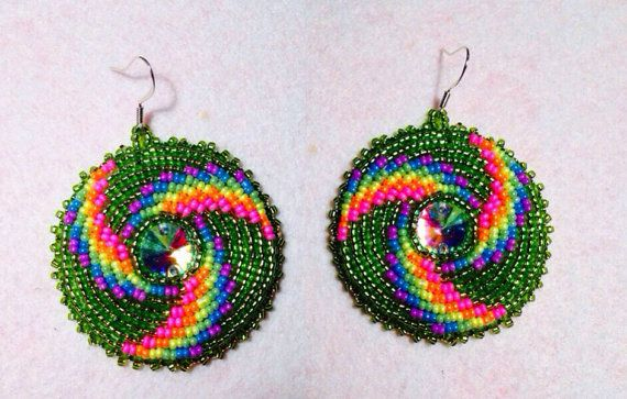 Native American Beaded Earring Round Gem Set By Kianikine On