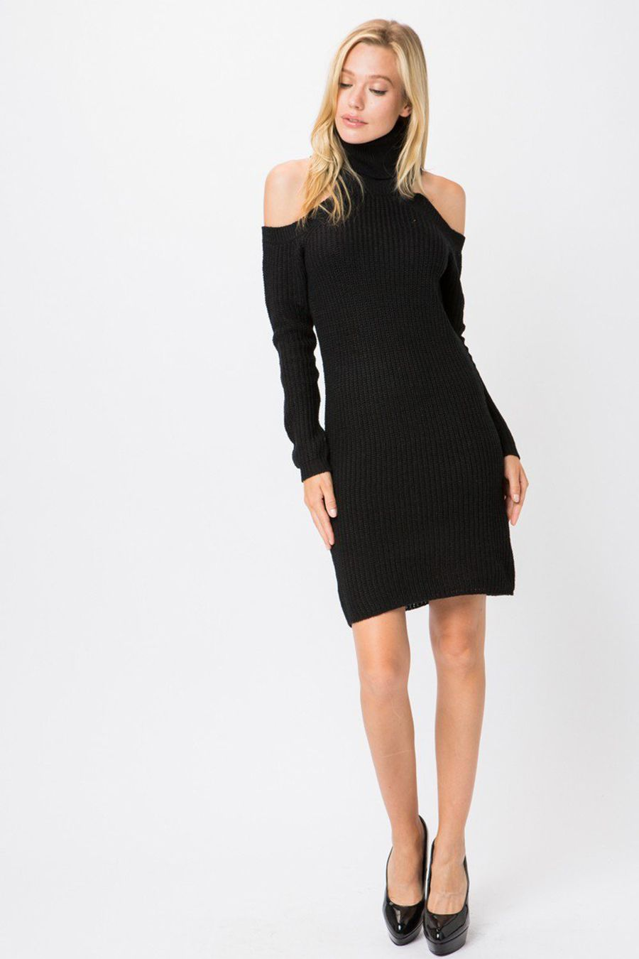 ea0a06cd0af Black Ribbed Knit Turtleneck Long Sleeves Sweater Dress - Casual is good