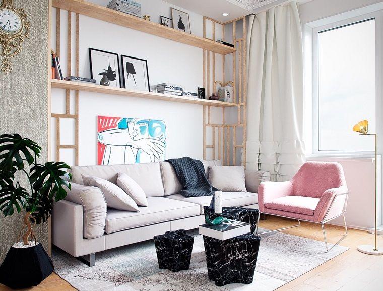 Idee per arredare casa, soggiorno con un divano grigio e poltrona ...