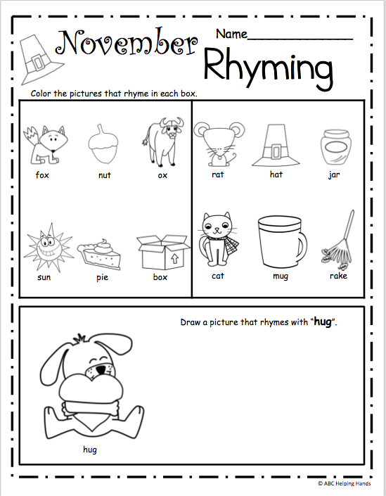 November Rhyming Worksheet – Free literacy building page for ...