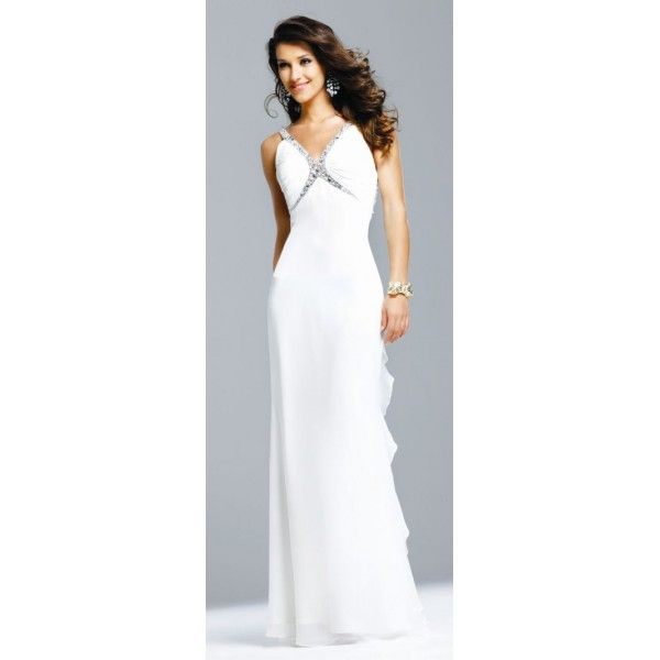 Faviana Celebrity Inspired Ruffle Chiffon Evening Dress 6564. #Straps, #Ivory, #Chiffon, #Backless, #Empire, #Evening, #Dress. Only $279.99