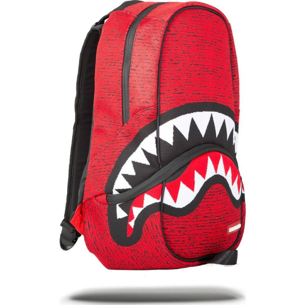 Sprayground Red Knit Shark Backpack Red W/Blk Bags
