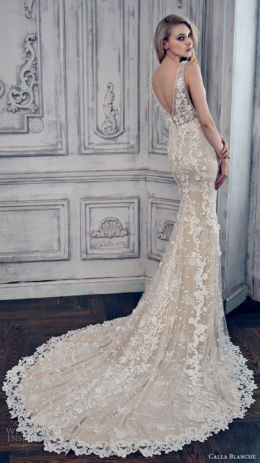 Wedding dress with color  calla blanche spring  bridal sleeveless deep v neckline full