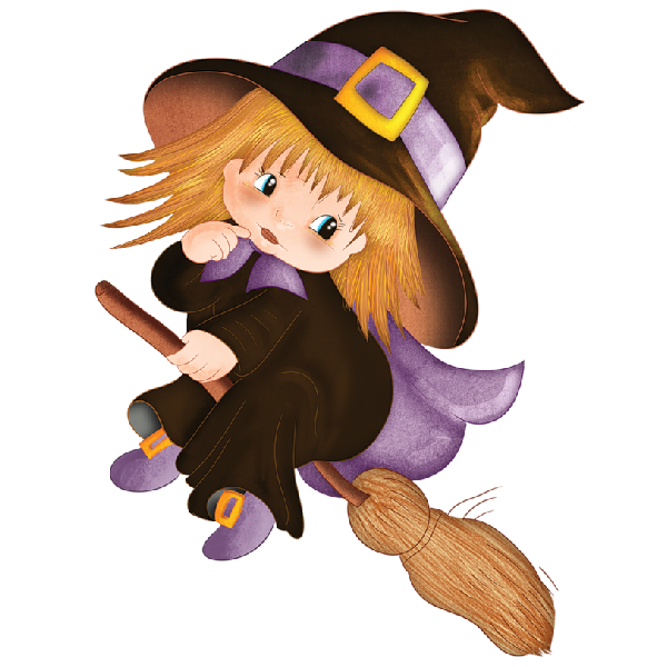 Cute Halloween Baby Witches Cartoon Clip Art Images Are On A