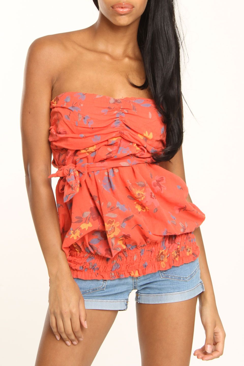 Lola Linda Strapless Top In Coral Multicolor - Beyond the Rack