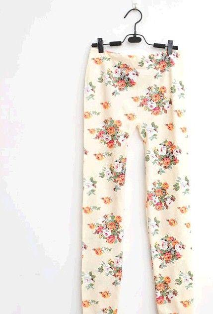 new 2013 Hot Stretch Denim Leggings Plus Size Korean version black pantyhose beige roses P0086 $4.55