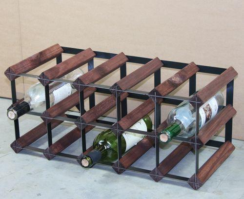 TREND Vinreol til 15 flasker - leveres samlet - vinreol i træ og stål-Mørk brun - bejdset fyrretræ