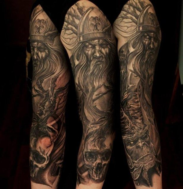 More Work Done To My 3 4 Sleeve Still Unfinished By Joseph At Lost Souls Belfast Viking Tattoos For Men Viking Tattoos Warrior Tattoo Sleeve
