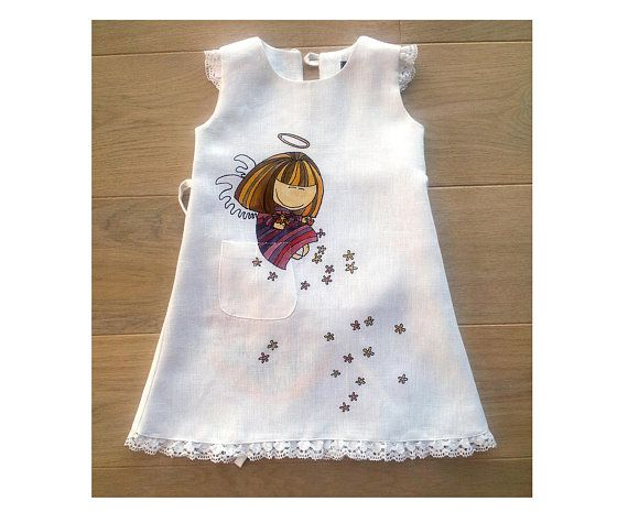 a18b9a8c22 White baptism lace baby dress Painted angel girl dress Unique Christening gown  girl linen gift Natur