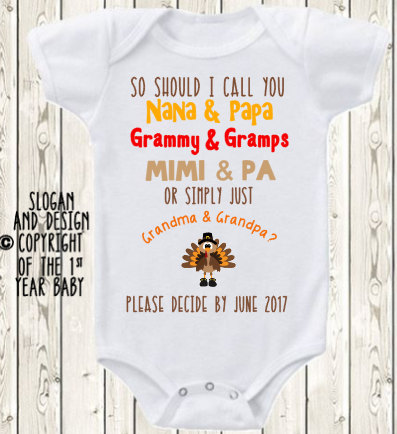 b24f08fd7 Thanksgiving Pregnancy Announcement Idea Grandparents Announcement Onesie ®  Brand Bodysuit Grandma grandpa baby reveal Custom date reveal