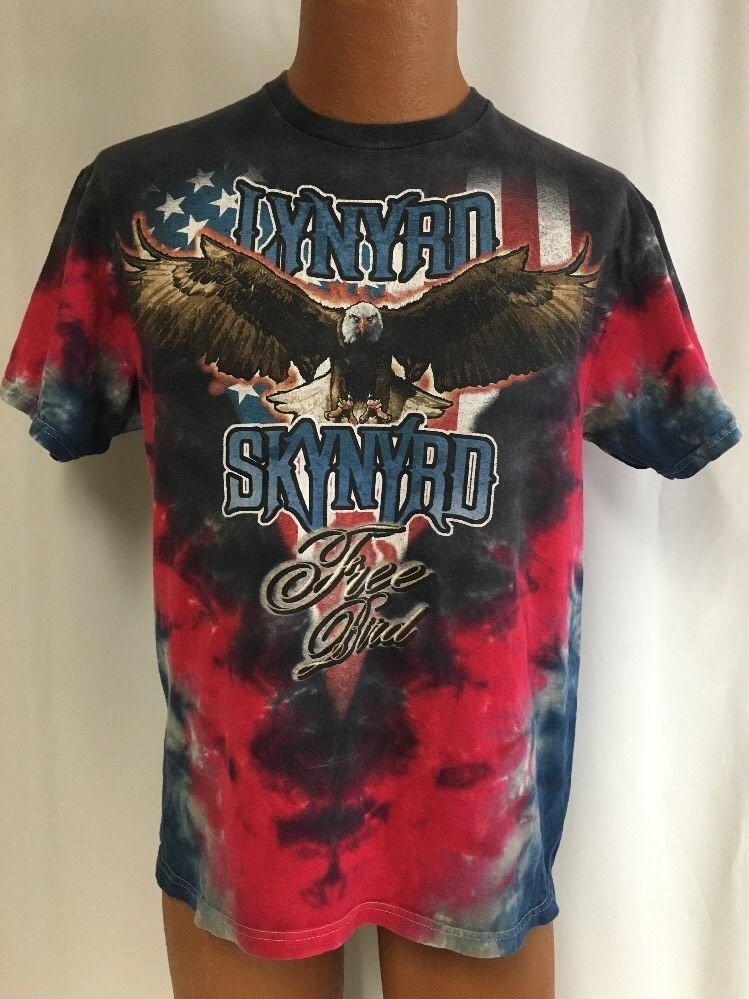 350605fd Lynyrd Skynyrd Free Bird T-shirt L Men's Shirt Eagle Tie Dye Southern Rock…