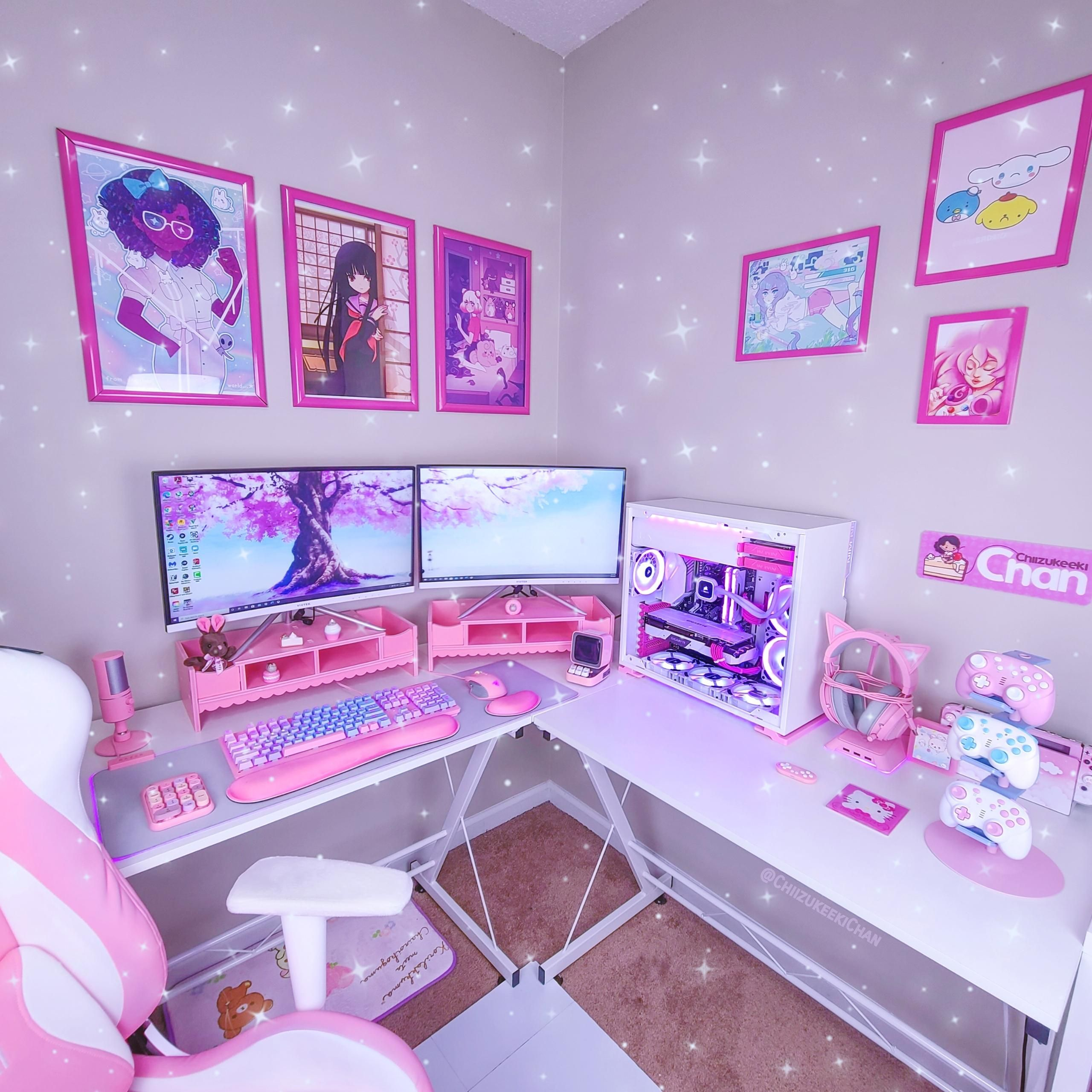 Added pink monitor stands to my battlestation peep that