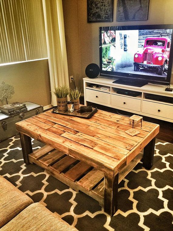 Square reclaimed recycled wood pallet coffee table by for Living room furniture made out of pallets
