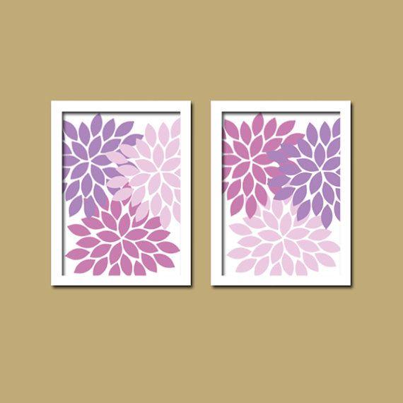 Bold Pink Purple Lilac Lavender Floral Flower Burst Set of 2 Prints ...