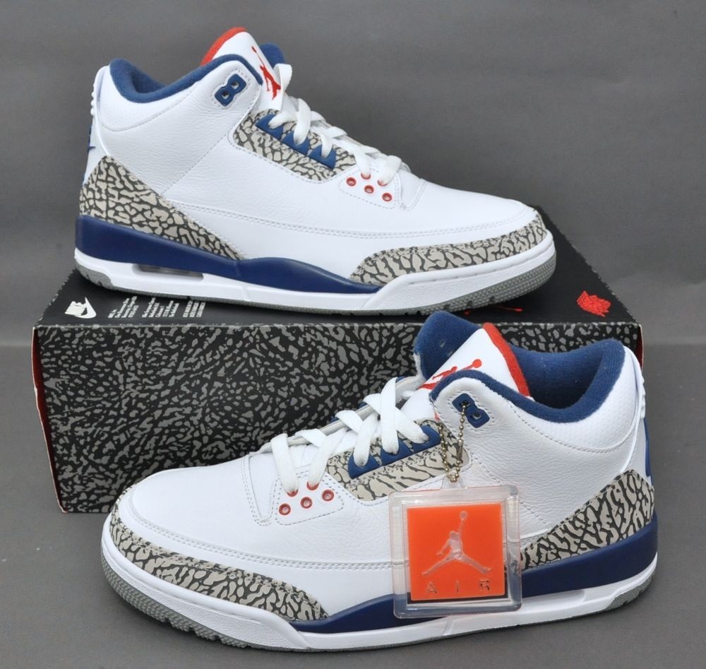 new concept ed08e 7bb16 AIR JORDAN 3 III RETRO OG 854262-106 TRUE BLUE IN HAND WHITE FIRE RED SIZE   9  Jordan  BasketballShoes