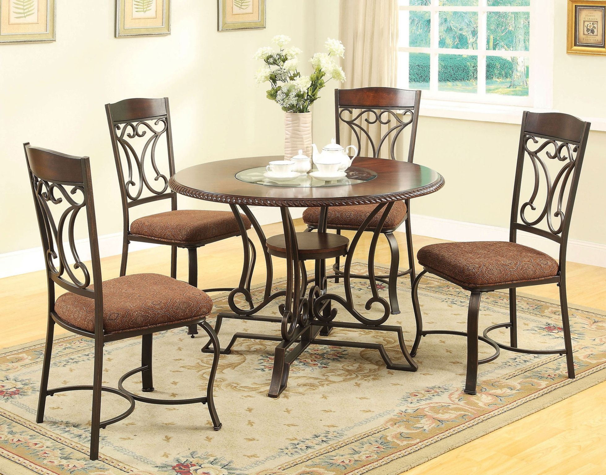 Jaimey 5 Piece Dinette Table And 4 Chairs Dk Oak Finish W Glass Insert Table And Wood Shelf In An Dining Table Round Dining Table Sets Side Chairs Dining
