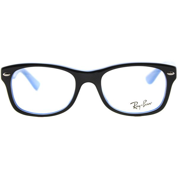 26a1c89ed8 Ray-Ban Junior RY 1528 3659 Black on Azure Blue Rectangle Plastic... ( 100)  ❤ liked on Polyvore featuring accessories