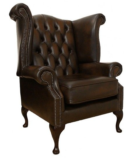 chesterfield queen anne high back wing chair uk manufactured antique rh pinterest com