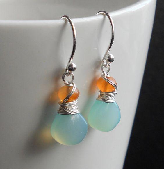 Handmade wire wrap earrings Aqua Chalcedony gemstone Copper handmade hooks Wire wrap earrings Glass accent beads Gemstone Earrings