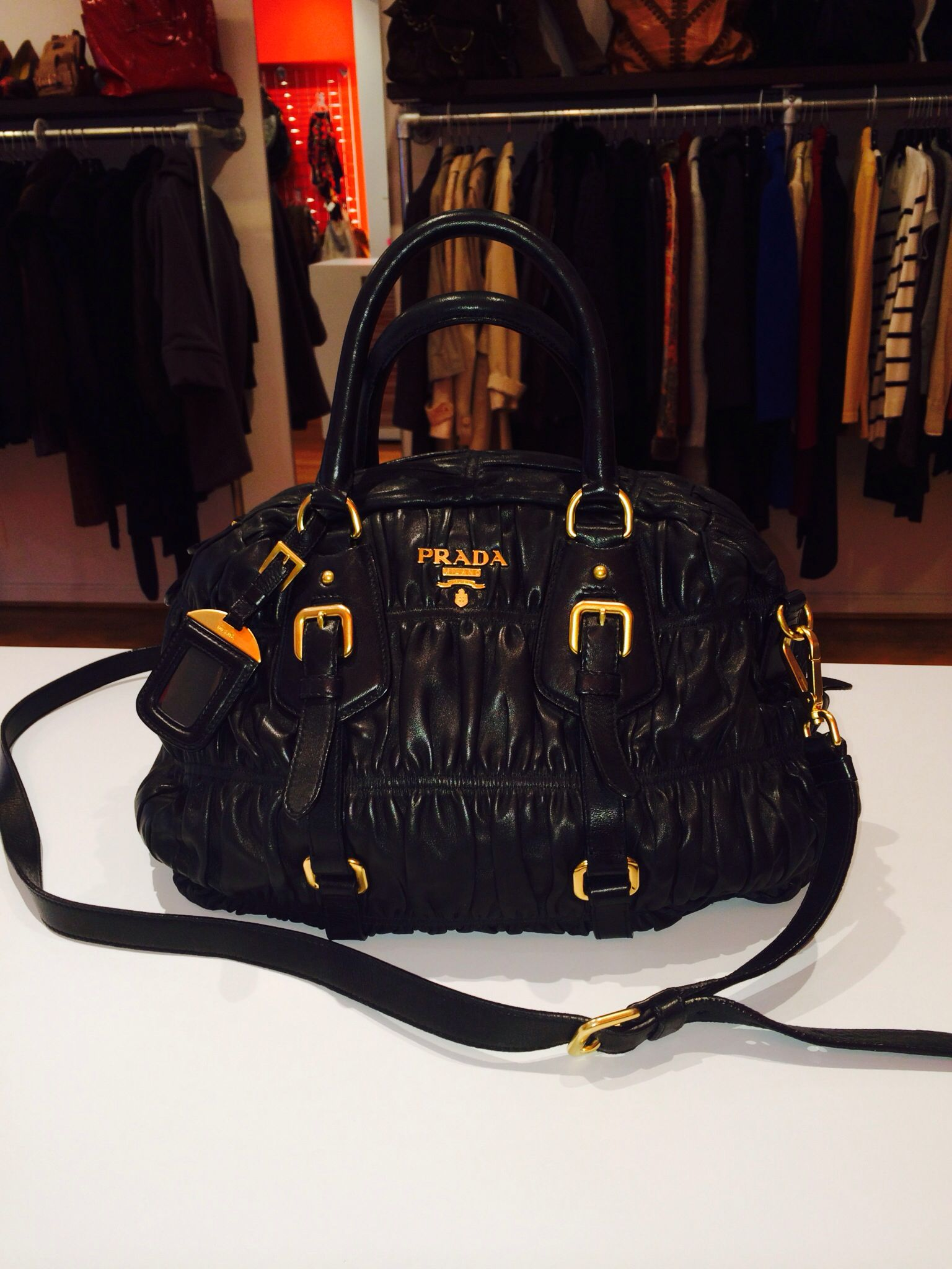 8b6b35bae139d9 Prada napa gaufre leather bowler large convertible bag available now at  Reddz Trading Georgetown