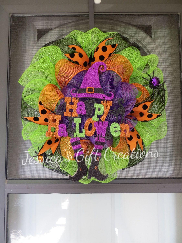 Happy Halloween Deco Mesh Wreath/Witch Legs/Door Decor/Decoration - halloween front door decor
