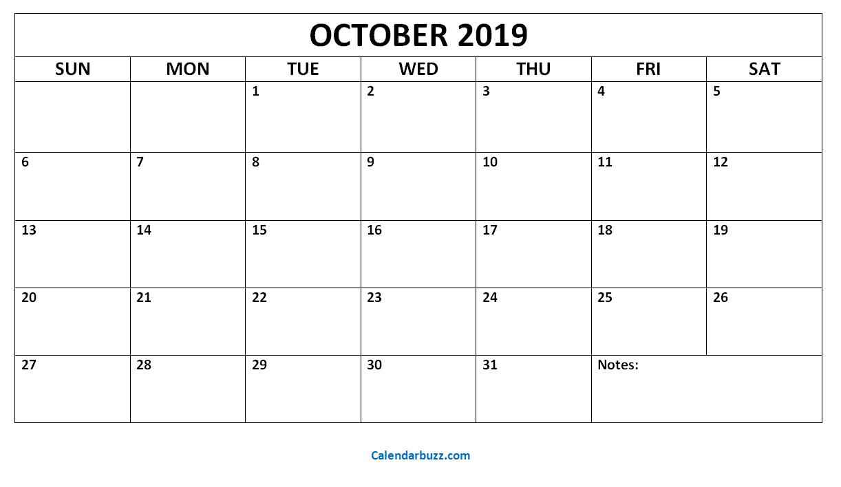 Printable Blank October Calendar 2019 2019 Monthly