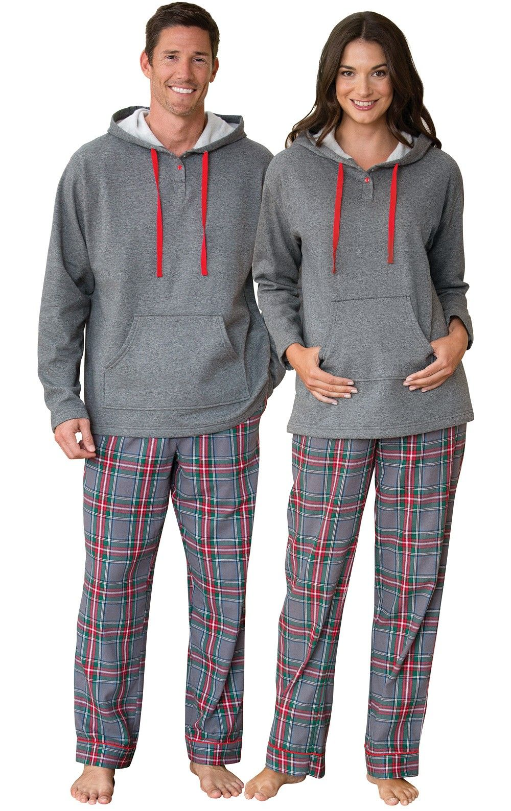 Gray Plaid Hooded His & Hers Matching Pajamas in 2020