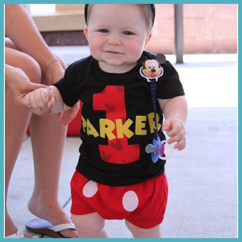 Infant/Toddler Boys 1st First Birthday Mickey Mouse Personalized 1 Shirt  BLACK Matching hat, - Infant/Toddler Boys 1st First Birthday Mickey Mouse Personalized 1