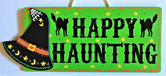 HAPPY HAUNTING Witch Hat SIGN Autumn Fall Decor Wall Door Hanging Hanger Plaque Handcrafted Hand Painted Decor Wood Wooden  Door Hanger #happyhalloweenschriftzug
