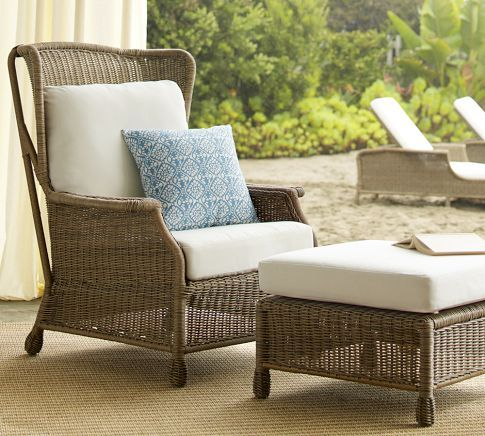 Saybrook All Weather Wicker Wingback Armchair | Pottery Barn This Was  Surprisingly Comfortable! $699 · Patio ChairsOutdoor ...